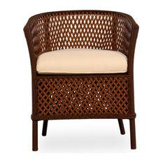 Grand Traverse Barrel Dining Chair, Carmel With Windward Stripe Seaside Fabric