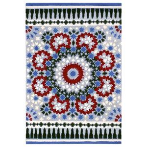 Nomadic Rectangular Funky Rug, Blue and Red Circle, 150x230 cm