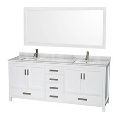 "Wyndham Collection Sheffield 80"" White, White Carrera Marble, Square Sink"