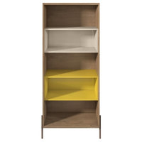 Joy 5, Shelf Bookcase In Yellow And Off White