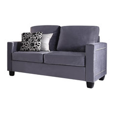 Wiles Upholstered Velvet Transitional Loveseat Gray