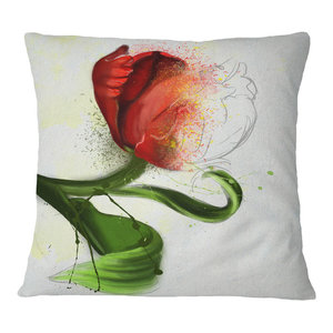 Designart Cu13581 16 16 Big Red Flower Sketch On White Floral Cushion Cover For Living Room