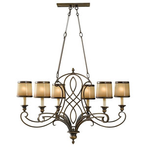 6-Light Single-Tier Chandelier, Astral Bronze With Aged Oak Glass