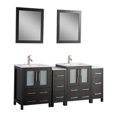 "72"" Vanity Set With Ceramic Top, Espresso"