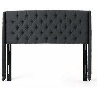 Contemporary Queen/Full Headboard, Button Tufted Upholstery, Dark Gray/Black