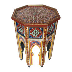 Badia Design Inc.   Moroccan Multi Color Hand Painted Side Tables, Blue,  Yellow