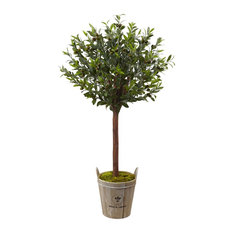 Artificial Tree -Olive Topiary Tree With Farmhouse Planter