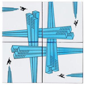 Flying Hero Ceramic Tile Mural, 4 Tiles