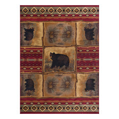 Sierra Bear Novelty Lodge Red Rectangle Area Rug, 9' x 12'