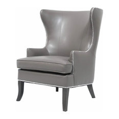 Maklaine Leather Wingback Accent Chair in Pebble and Espresso