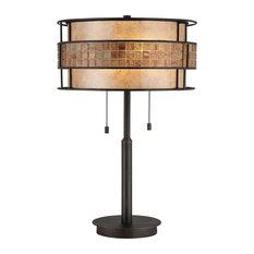 Elegant Tile Band Table Lamp, Renaissance Copper Finish