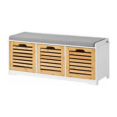 Contemporary Storage Bench, White Finish MDF With 3-Drawer and Cushioned Seat
