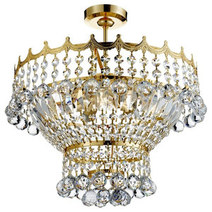 Versailles 5-Light  Crystal Chandelier With Crystal, Gold Plated, 39 cm