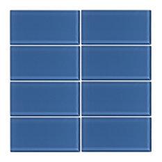 "3""x6"" Denim Glass Subway Tile, Set of 8"