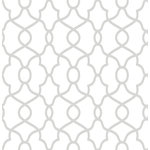 NuWallpaper - Clearly Cool Silver Peel and Stick Wallpaper Swatch Sample - Traditional meets modern with this lovely trellis design. Its stylish silver and white color palette has a clean and classic feel. Silver Clearly Cool Peel & Stick Wallpaper contain 1 piece on 1 sheet that measure 216 x 20.5 inches. A silver trellis design from the Kelly Rippa NuWallpaper collection; Peel and stick to apply, pull up to remove; NuWallpaper is safe for walls and leaves no sticky residue; Easily repositionable while installing; NuWallpaper sticks to any smooth, flat surface - perfect for DIY projects; Ideal for rental or home decorating;Comes in a 20.5-in x 18-ft roll and covers about 30.75 sq. ft.;This product should NOT be applied to textured walls � smooth clean, dry, painted surface only (no Non-Stick paint or soap residue).