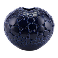 Decor Stoneware Vase With Blue Finish A11331