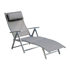 Outsunny Patio Reclining Chaise Lounge Chair With Cushion, Gray