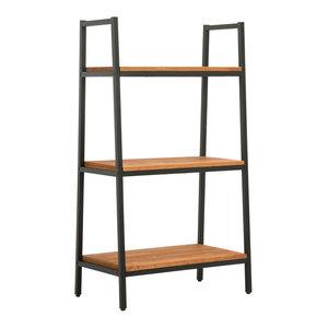 CO-Z 3-Tier Industrial Solid Wood Ladder Bookshelf