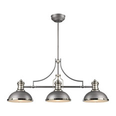 Chadwick 3-Light Island Light In Weathered Zinc With Metal And Frosted Glass