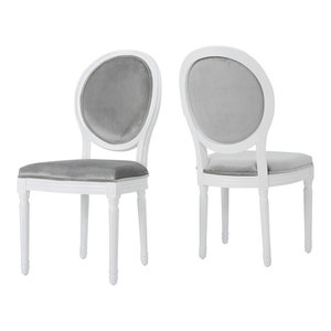 GDF Studio Camilla Traditional Gray New Velvet Dining Chairs, Set of 2