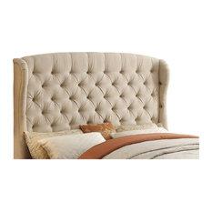Felisa Upholstered Wingback Headboard, Beige, King
