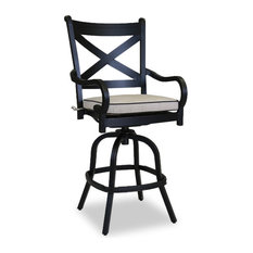 Monterey Barstool With Cushions, Frequency Sand With Canvas Walnut Welt