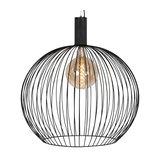 Modern round hanging lamp black 70 cm - Wire