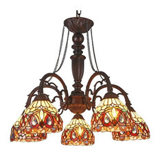 """Serenity Tiffany-Style 5 Light Victorian Large Chandelier 27"""" Wide"""