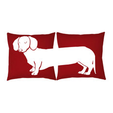 """RoomCraft Dachshund Throw Pillow Covers, Red, 16"""", No Insert"""
