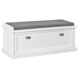 Contemporary Storage Bench, White Finished MDF With Removable Padded Cushion