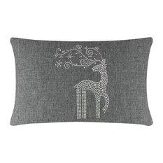 "Sparkles Home Rhinestone Reindeer Pillow - 14x20"" - Gray"