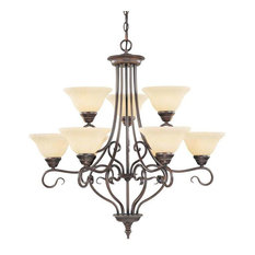 Livex Lighting 6119 Coronado 9 Light 2 Tier Chandelier