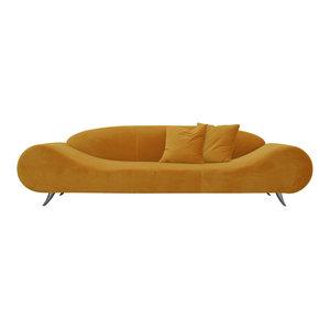 Harmony Sofa, Chrome Plated Steel Tubes Base, Gold Velvet