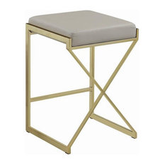 25-inch Modern Upholstered Counter Height Stool With Faux Leather Padded Seat Taupe