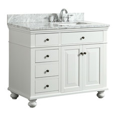 1st Avenue Dustin White Bathroom Vanity With Marble Counter 42 Vanities