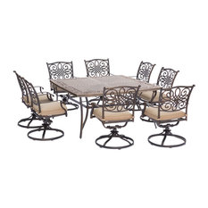 """Traditions9Pc: 8 Swivel Rockers, 60"""" Square Cast Table"""