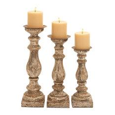Mel Wooden Candleholders, Set of 3, Mocha
