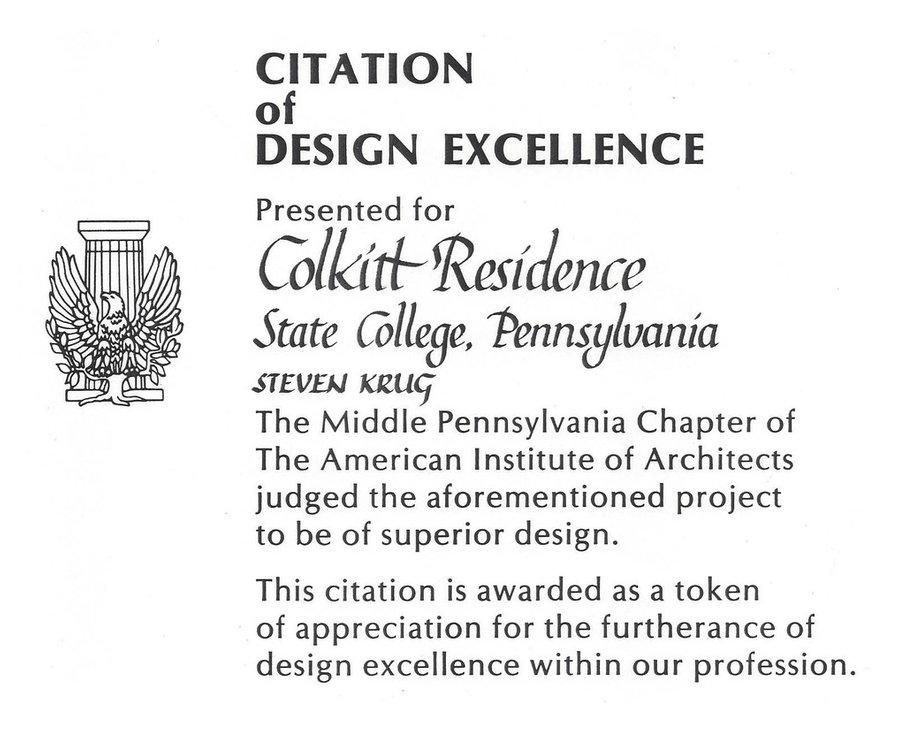 Colkitt Residence - Citation of Design Excellence