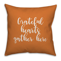 Grateful Hearts Gather Here in Orange 18x18 Throw Pillow Cover