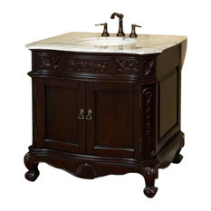 34.6 Inch Single Sink Vanity-Wood-Walnut-Carrera White Marble