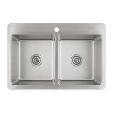 "Ancona 33"" Valencia Series Dual-Mount 50/50 Double Bowl Sink"