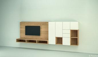 schaldach MÖBELBAU - individuell geplantes Wohnzimmer mit TV-Wand (Forcher)