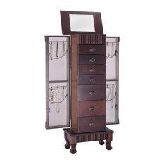 Costway Jewelry Cabinet Storage Chest Stand Organizer Necklace Wood