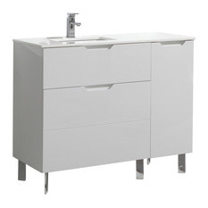 "Aquamoon Livenza 42 7/8"" Modern Bathroom Vanity Set, White"