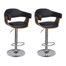 VidaXL Adjustable Swivel Bar Stools, Faux Leather, Set of 2