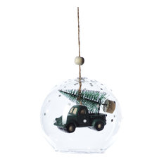 Vintage Truck Clear Christmas Ball Ornaments, Set of 6