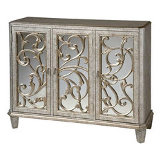 Stein World   Stein World Leslie Mirrored Cabinet In Antique Silver    Accent Chests And Cabinets