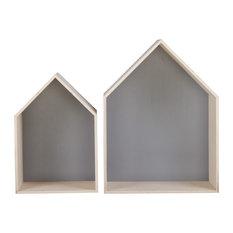 Grota Pentagonal Wall Shelves, Light Grey, 2-Piece Set