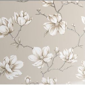 Pierre Floral Wallpaper, White Gold, Roll