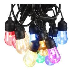 TORCHSTAR 50ft RGB LED Outdoor String Lights, 15+2 Bulbs